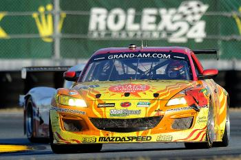 The #40 Dempsey Racing Mazda RX-8 can tell one all about bad luck. After fighting to the front of its class, the car, spun, stalled, and dropped to fourth in class. (John Harrelson/Getty Images)