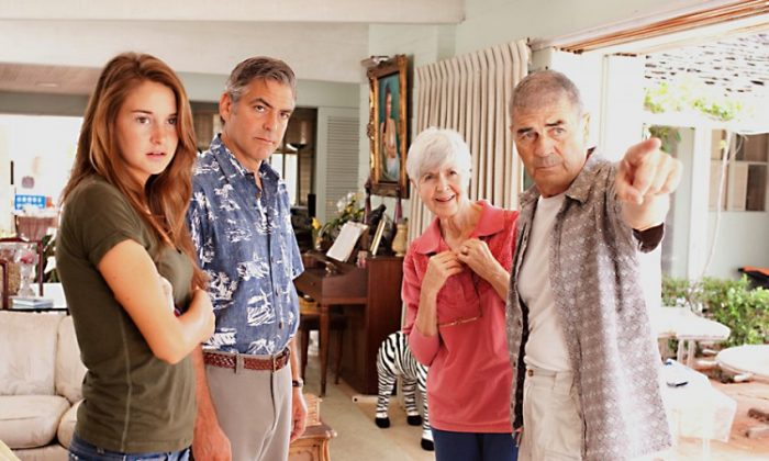 "A scene from the drama–comedy ""The Descendants,"" starring (L-R) Shailene Woodley, George Clooney, Barbara L. Southern, and Robert Forster. (FOX Searchlight)"
