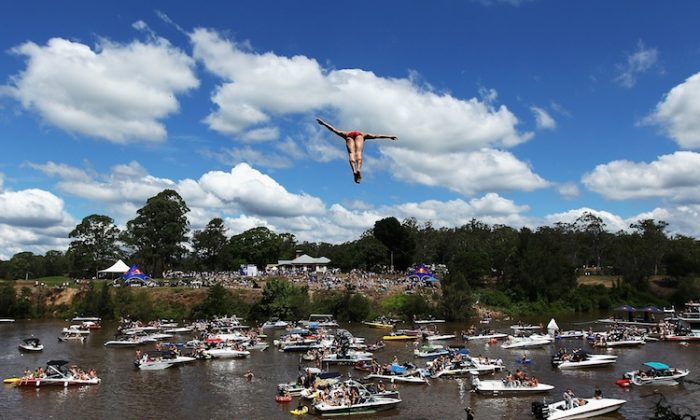 Diver Jonathan Paredes of Mexico competes in the Red Bull Cliff Diving World Series qualifier at Riverside Oaks Golf Resort in Sydney, Australia. (Ryan Pierse/Getty Images)
