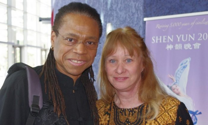 Dr. Vernon Barksdale and Dr. Louise Barksdale attend Shen Yun Performing Arts in Mesa on March 2. (Albert Roman/The Epoch Times)