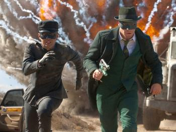 Jay Chou and Seth Rogen in The Green Hornet. (Courtesy of Sony Pictures)