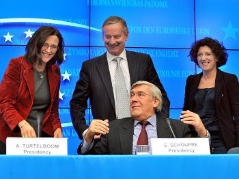 AIRSPACE AGREEMENT: (L-R) EU Commissioner for Home Affairs Cecilia Malmstrom, EU Commissioner for Transport Siim Kallas, Belgian State Secretary for Transports Etienne Schouppe, and Belgian Minister for Home Affairs Annemie Turtelboom give a joint press conference on Dec. 2 at the end of the Transport Council and the Justice and Home Affairs Council at the EU headquarters in Brussels. Six European countries signed a major deal to jointly manage their airspace in a crucial new step towards creating a single European sky. (Georges Gobet/AFP/Getty Images)