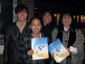 Ellie Huebner (2nd right) with her son, Josh (left), daughter Christine (2nd left), and sister Ruth at Centre In the Square on Jan. 1.  (The Epoch Times)