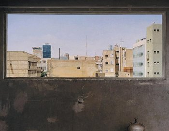 VIEW: In order to be more in accordance with reality, some of Reshef's paintings are life-size representations like this view from his studio. 'The Second House,' 2009-2011, oil on wood. (Courtesy of Eran Reshef)