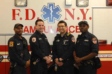 Fire Department of New York personnel who rescued a newborn baby on Wednesday. (L to R) EMT Jamaal Shabazz, Paramedic Carl Gandolfo, Paramedic Terence Lau, and EMT Jerry Bond. (Courtesy of EMS Deputy Chief Steven Russo)