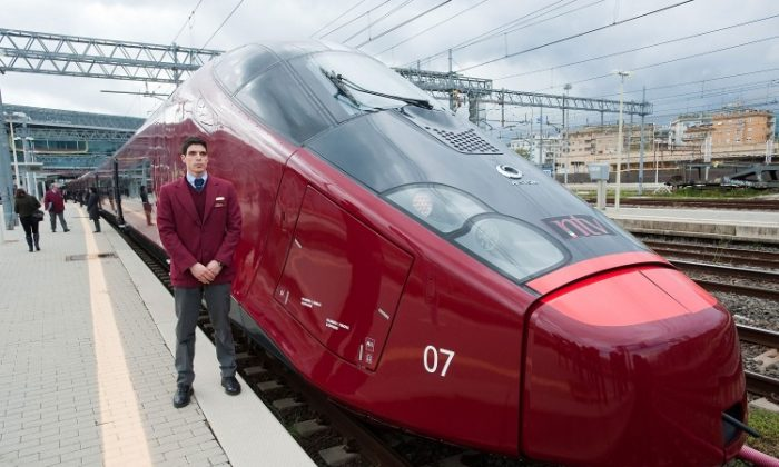 Italo, Italy's new high-speed train by Ferrari is seen ahead of its inaugural trip to Naples, at Stazione Tiburtina on April 20, in Rome, Italy. (Giorgio Cosulich/Getty Images)