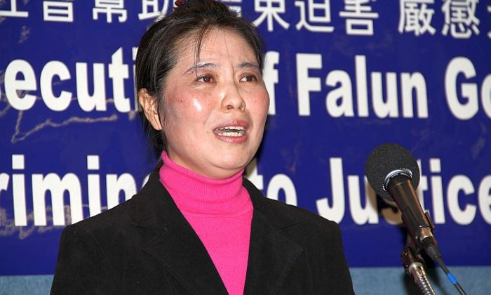 Chun Mei Ma, a Falun Dafa practitioner and mother of one son who remains in China, wept as she recalled the tortures she suffered in detention included burning with an electronic baton, sleep deprivation, forced feeding and beatings. (Shar Adams/The Epoch Times)