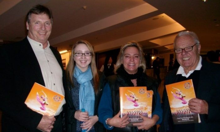 (L-R) James Kohne, Emily-Marie Kohne, Caroline George-Kohne, and famed cinematographer Laszlo George, three generations of a family, enjoyed Shen Yun Performing Arts at Queen Elizabeth Theatre in Vancouver on Saturday evening. (The Epoch Times)