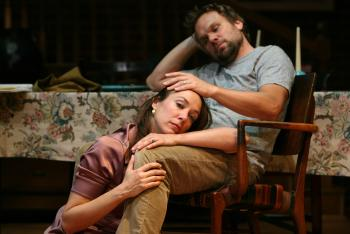"""(L-R) Elizabeth Marvel and Norbert Leo Butz in a scene from MCC Theater's production of """"Fifty Words.""""    (Joan Marcus)"""