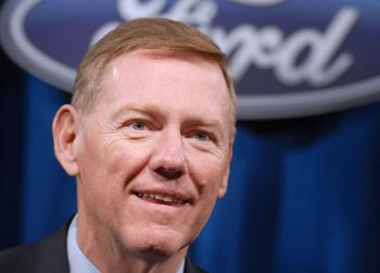 CONFIDENT: Chief Executive Officer of Ford Motor Company Alan Mulally is all smiles as he speaks with the media at the Ford Annual Shareholder Meeting on May 13. Ford last Friday posted quarterly profits of $2.6 billion, exceeding expectations. (William Thomas Cain/Getty Images)