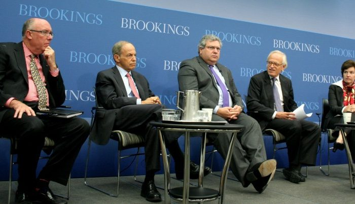 (L to R) Brookings Institution senior fellows Bruce Reidel, Kenneth Lieberthal, and Robert Kagan; Vice President and Director, Foreign Policy program, at Brookings, Martin Indyk; and Susan Glasser, editor-in-chief, Foreign Policy (moderator) discussed Oct 24 the third presidential debate on foreign policy between Gov. Romney and President Obama. (Gary Feuerberg/ The Epoch Times)