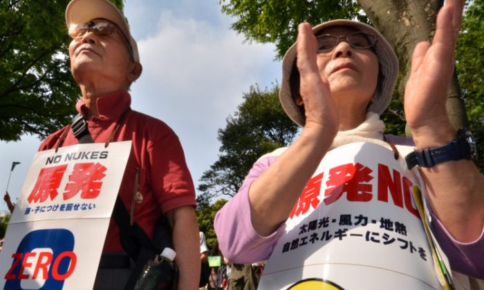 Protesters take part in an anti-nuclear rally in Tokyo on May 6.(Yoshikazu Tsuno/AFP/GettyImages)
