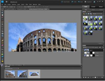 FILLED: An image is shown after Content Aware Fill is applied, and the missing parts have been automatically filled in Adobe Photoshop Elements 9.  (Courtesy of Adobe)