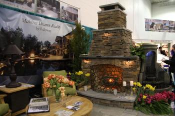 FURNACE: Large scale outdoor furnace at the Capital Home & Garden Show. (Lisa Fan/Epoch Times)