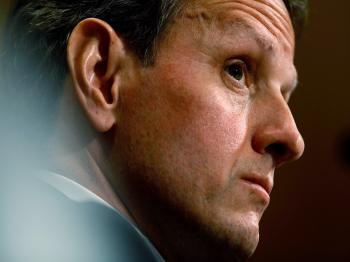 U.S. Treasury Secretary Timothy Geithner testifies before the Senate Finance Committee on Capitol Hill May 4, 2010 in Washington, DC.  (Chip Somodevilla/Getty Images)