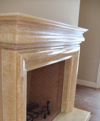 BEAUTIFUL STONE: An elegant mantel carved out of honey onyx. It was custom designed by Grandiose Marble. (Cecil Greene/Grandiose Marble)