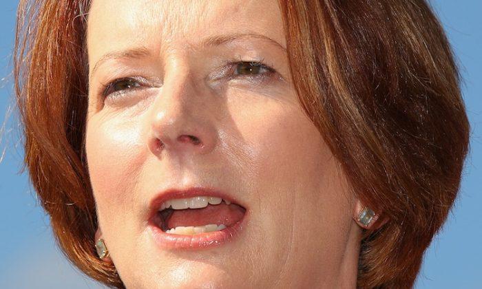 Australian Prime Minister Julia Gillard speaks at a press conference on April 4, in Sydney, Australia. (Cameron Spencer/Getty Images)