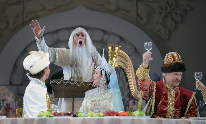 """This past December, actors wearing Russian costumes of the 17th century took part in a dress rehearsal of Modest Mussorgsky's opera """"Boris Godunov"""" at the Bolshoi Theater in Moscow. (Kirill Kudryavtsev/AFP/Getty Images)"""