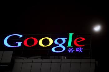 The Google logo at its China headquarters building on March 23, 2010 in Beijing, China. (Feng Li/Getty Images)