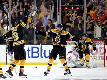 Nathan Horton #18 of the Boston Bruins celebrates with Milan Lucic #17 after Horton scored the winning goal in overtime against the Montreal Canadiens in Game Seven of the Eastern Conference Quarterfinals of the 2011 NHL Stanley Cup Playoffs. (Jim Rogash/Getty Images)