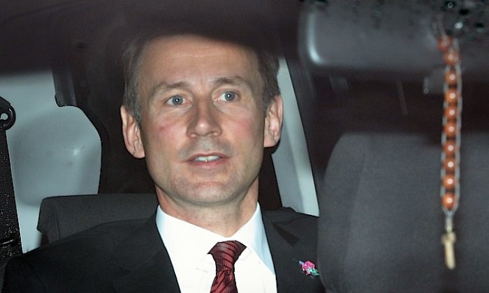 U.K. Culture Secretary Jeremy Hunt on April 25, in London, England. Hunt's special advisor Adam Smith resigned amid accusations that the Culture, Media and Sport department was too close with Murdoch's News Corp. (Peter Macdiarmid/Getty Images)
