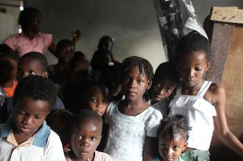 Haitian orphans at the Foyer de la Patience des Infantes orphanage, Jan. 31, 2010, in Port-au-Prince, Haiti. Child smuggling was a problem in Haiti even before the earthquake, with thousands of children disappearing every year. (Mario Tama/Getty Images)