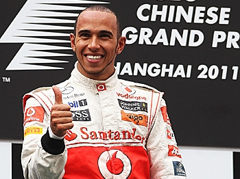 FIRST 2011 WIN: Lewis Hamilton gives a big 'Thumbs up' after winning the Chinese Formula One Grand Prix. (Mark Thompson/Getty Images)