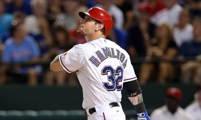 Josh Hamilton broke out of his slump in August, driving in 28 runs for the month. (Ronald Martinez/Getty Images)