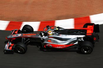 Lewis Hamilton drives during practice for the Monaco Formula One Grand Prix. (Paul Gilham/Getty Images)