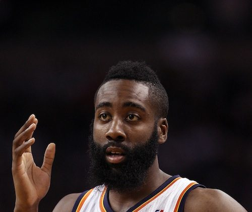 James Harden averaged 16.8 points per game this past season for the Thunder. (Elsa/Getty Images)