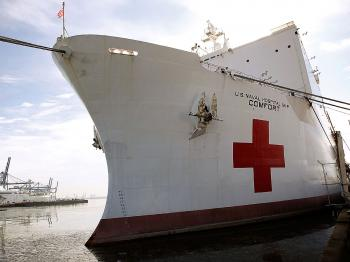 The Navy hospital ship U.S.N.S. Comfort, bound for Haiti, docks to load supplies and personnel in Baltimore, Maryland Jan. 15. (Alex Wong/Getty Images)