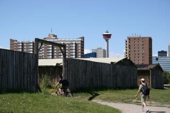 Entrance to the Fort with the Calgary Tower in the background (Neil Campbell/The Epoch Times)