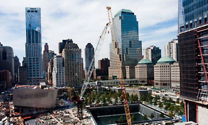 World Trade Center site construction as of August, 2011. Its rising price tag is hard for Port Authority to cover, considering its many transportation projects and limited funding. (Tara MacIsaac/The Epoch Times)