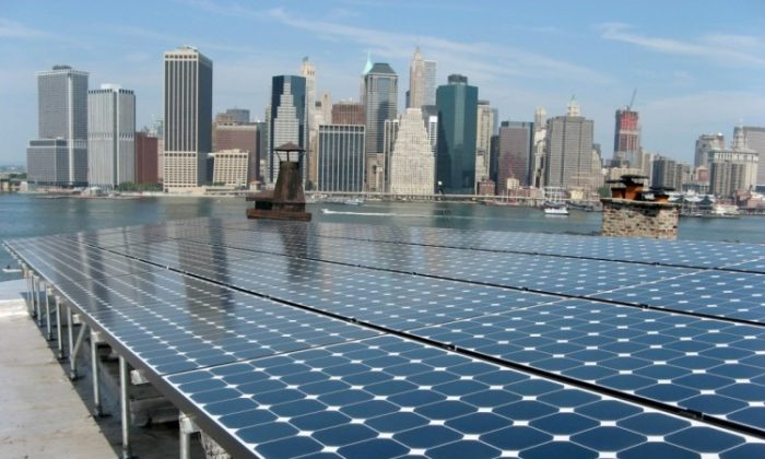 Solar panels installed by the company AeonSolar on a building in Brooklyn Heights. (Courtesy of AeonSolar.com)