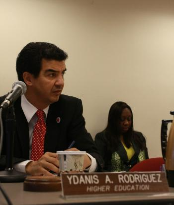 YDANIS ON HIGHER ED: Councilman Ydanis Rodriguez, chair of the City Council Higher Education Committee discusses tuition assistance for CUNY students at a hearing on Thursday. (Tara MacIsaac/The Epoch Times)