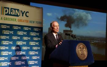 GREENING NEW YORK: Mayor Michael Bloomberg announces new initiatives as part of an updated PlaNYC, his long-term plan for sustainability and ecologically friendly practices in New York City.  (Tara MacIsaac/The Epoch Times)