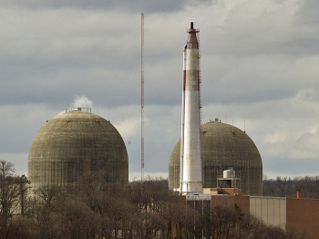The Indian Point Nuclear Power Plant on the banks of the Hudson River in Buchanan, NY.   (Don Emmert/Getty Images )