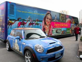 Indiatourism's new mobile outdoor campaign features coach buses and a Mini Cooper decked out in India travel ads. (Diana Hubert/Epoch Times)