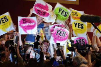 Supporters celebrate in St. Patrick's Hall following the offical announcement in favour of the European Union's Lisbon Treaty in Dublin, Ireland, on Oct. 3, 2009.  (Ben Stansall/AFP/Getty Images)