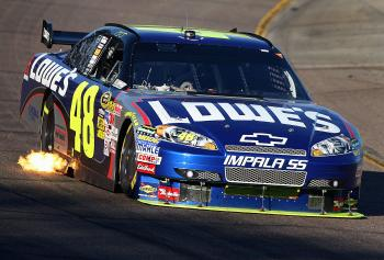 Jimmie Johnson's #48 Lowe's Chevrolet ran strong after the first round of pit stops. (Christian Petersen/Getty Images)