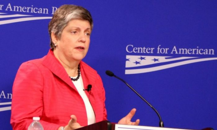 Janet Napolitano, Secretary of Homeland Security, speaks at the Center for American Progress May 9 on the mission of DHS and current efforts to combat human trafficking. (Gary Feuerberg/ The Epoch Times)