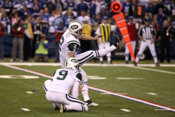WINNING KICK: Nick Folk sends the New York Jets into a battle against New England. (Jonathan Daniel/Getty Images)