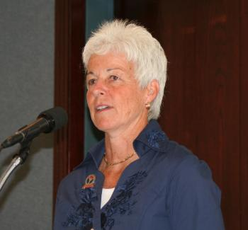 YOUTH COACHING: Dr. Jody Brylinsky, Professor of Sport Studies at Western Michigan University, presented the results of the National Coaching Report on Aug. 6 at the National Press Club in Washington, D.C. (Gary Feuerberg/Epoch Times)