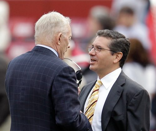Jerry Jones's (L) club and Daniel Snyder's (R) team will be limited to a smaller salary cap the next two years. (Rob Carr/Getty Images)