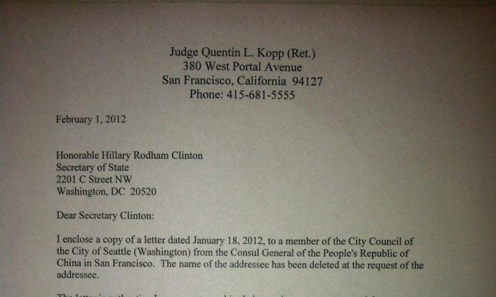 Judge Kopp's letter to Secretary of State Clinton.