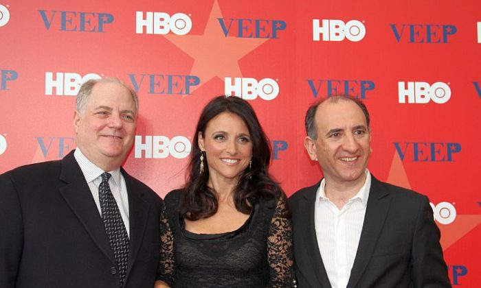 """Actress Julia Louis-Dreyfus (C) with """"Veep"""" executive producer, writer and director Armando Iannucci (R) and executive producer Frank Rich (L) at the premier of HBO's comedy"""" Veep"""" at the U.S. Institute of Peace Washington, D.C., April 11. (Shar Adams/The Epoch Times)"""