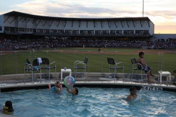 At QuikTrip Park, home of the American Association's Grand Prairie AirHogs, you can take a dip in the pool while enjoying the baseball game.  (Photo courtesy of Grand Prairie AirHogs)