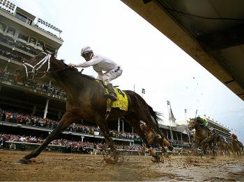 AT THE FINISH: Super Saver with Calvin Borel atop crosses the finish line first to win the Kentucky Derby on Saturday. (Jamie Squire/Getty Images)