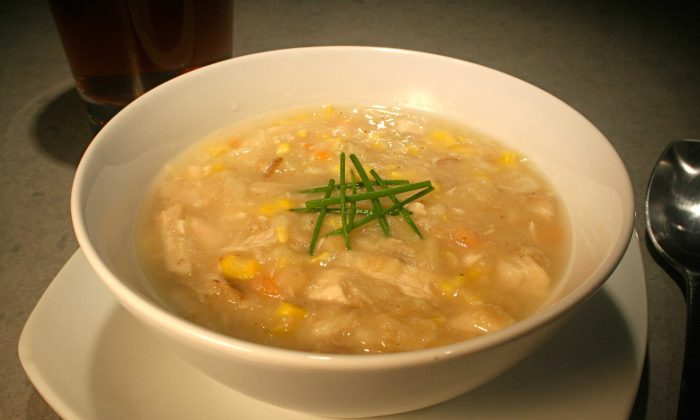 After the make-over a delicate bowl of corn chowder (Erik R. Trinidad)