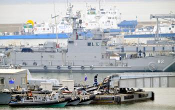 South Korean Navy vessels anchor at a naval base in Incheon on Jan. 27.  (Park Ji-Hwan/AFP/Getty Images)